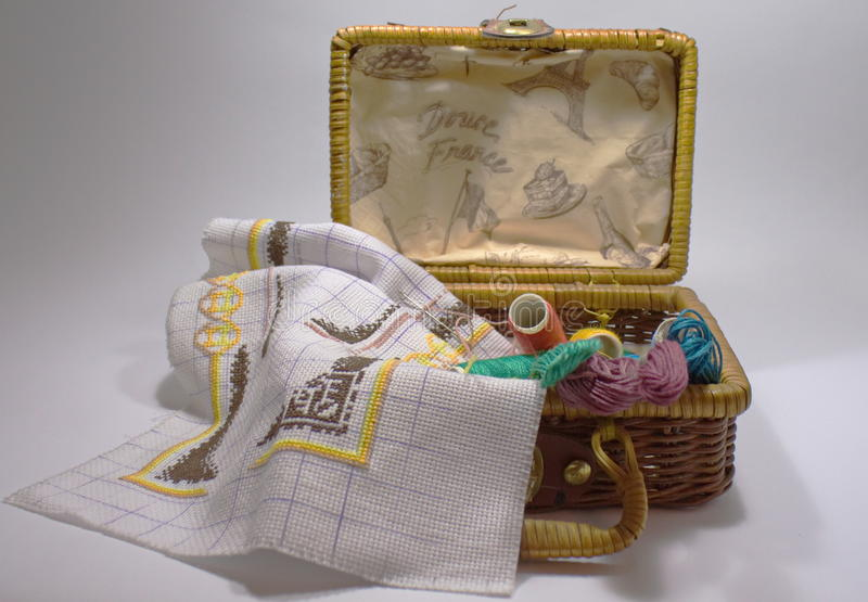 Set embroidery in a wicker basket royalty free stock image
