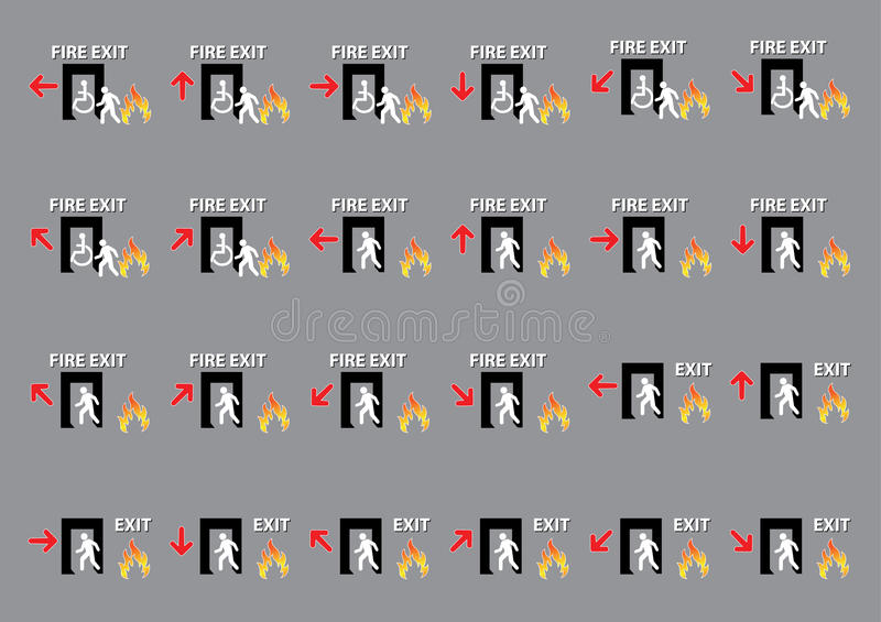 24 set of emergency exit, fire exit sign (fire exit, emergency exit). Illustration stock illustration