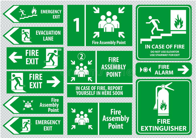 Set of emergency exit Sign (fire exit, emergency exit, fire assembly point). Set of emergency exit Sign (fire exit, emergency exit, fire assembly point stock illustration
