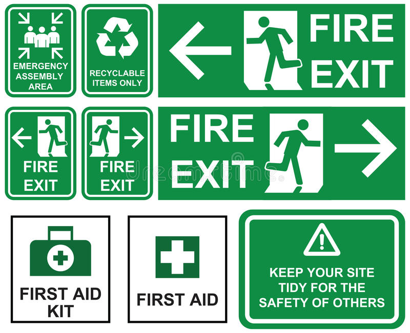 Set of emergency fire exit , emergency assembly area, first aid, recyclable items only green signs with different directions iso vector illustration