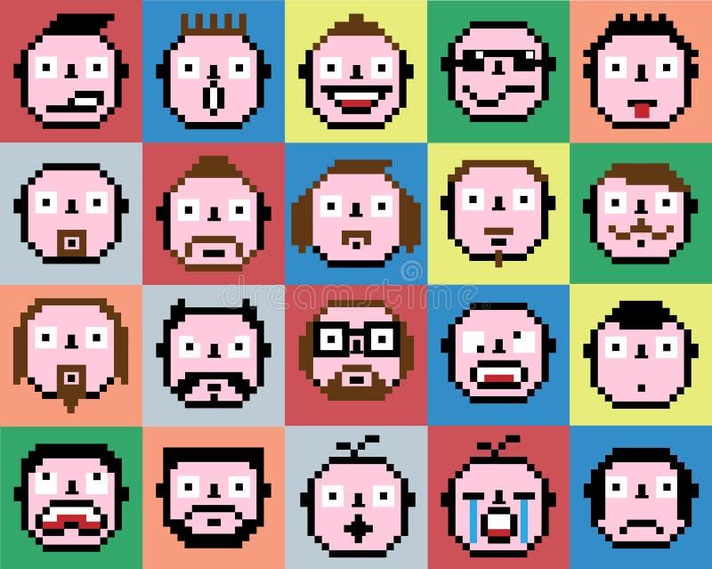 Set emoci emoji twarzy ikon piksla retro rocznik ilustracja wektor