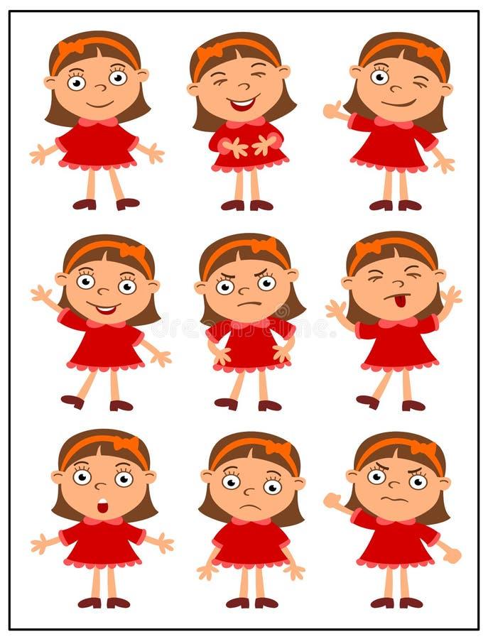 Set emocje śmieszna dziewczyna w różnych pozach royalty ilustracja