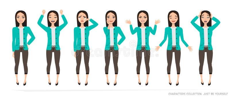 Set emocje i gesty młoda azjatykcia kobieta ilustracja wektor