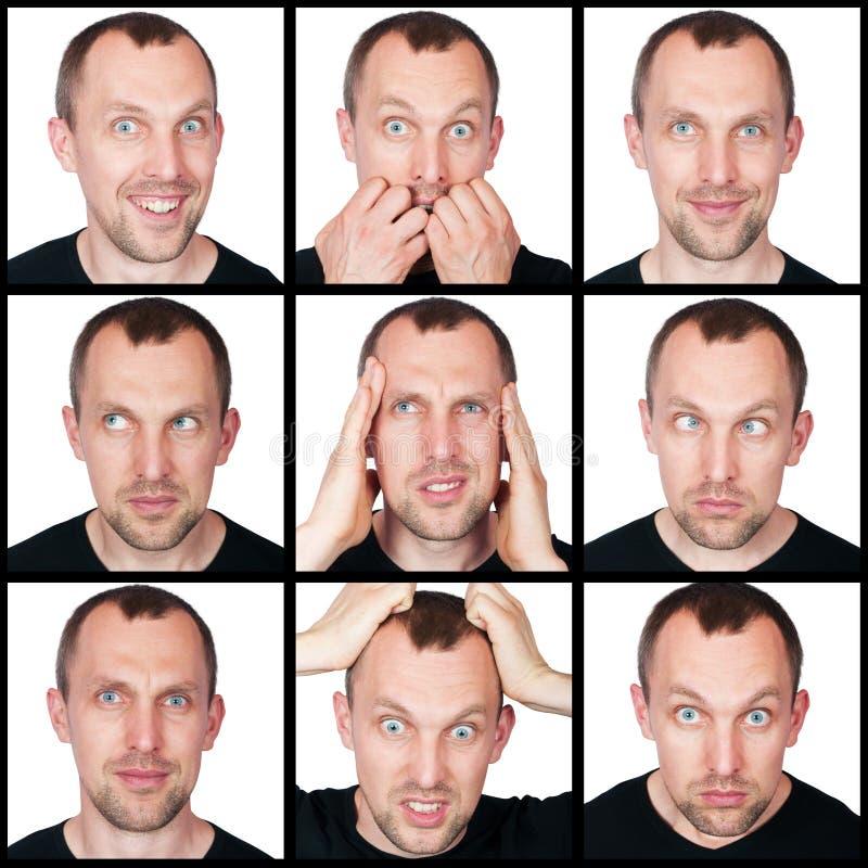 Set emocje mężczyzna fotografia stock
