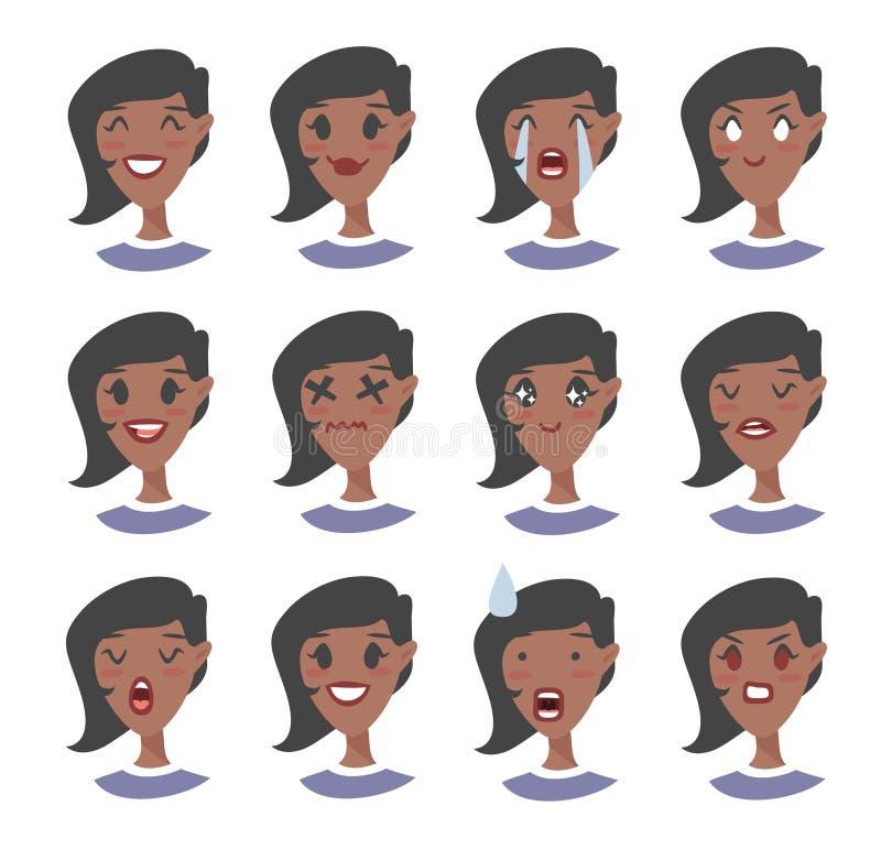 Set emocjonalny charakter Kreskówki stylowy emoji Odosobneni czarni dziewczyn avatars z różnymi wyrazami twarzy Płaska ilustracja ilustracja wektor