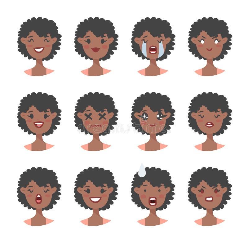 Set emocjonalny charakter Kreskówki stylowy emoji Odosobneni czarni dziewczyn avatars z różnymi wyrazami twarzy Płaska ilustracja royalty ilustracja