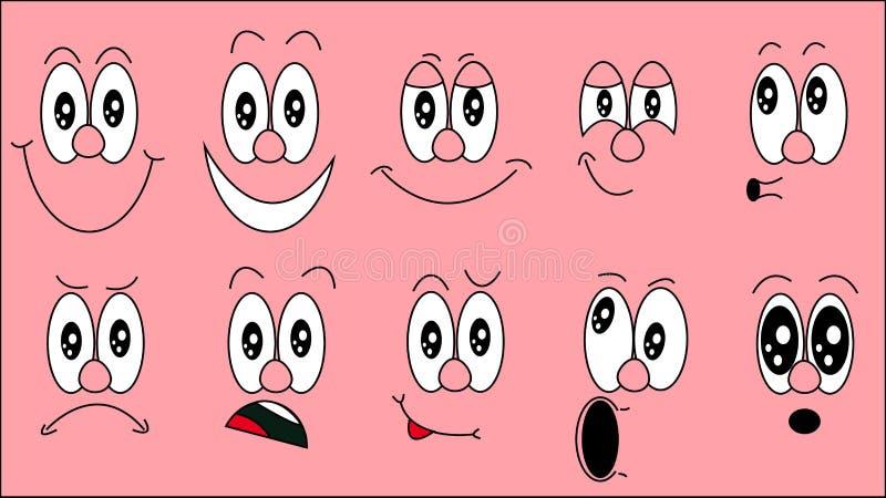 Set emoji, set emocje śmieszne twarze z różnymi emocjami, radość, smucenie, strach, niespodzianka, uśmiech, płacz, wątpliwość na  ilustracji