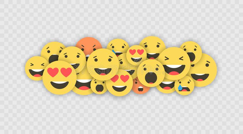 Set of emoji icons. Funny faces with different emotions. Emoji flat style icons. Social media reactions. Vector vector illustration