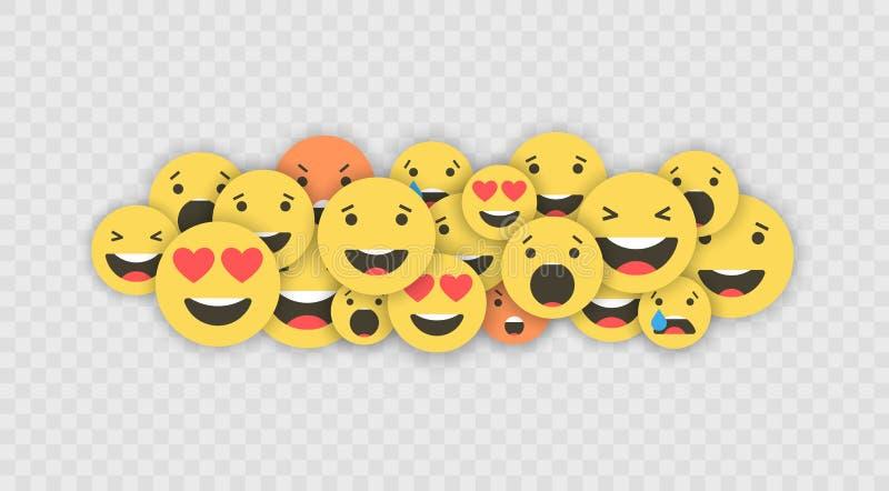 Set emoji ikony Śmieszne twarze z różnymi emocjami Emoji mieszkania stylu ikony Ogólnospołeczne medialne reakcje wektor ilustracja wektor