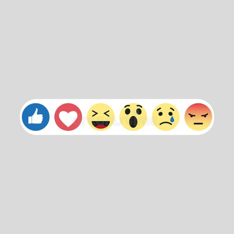 Set emoji like social icon. Button for expressing social smileys. Flat vector illustration stock illustration