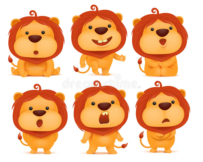 Set of emoji lion cartoon character royalty free illustration