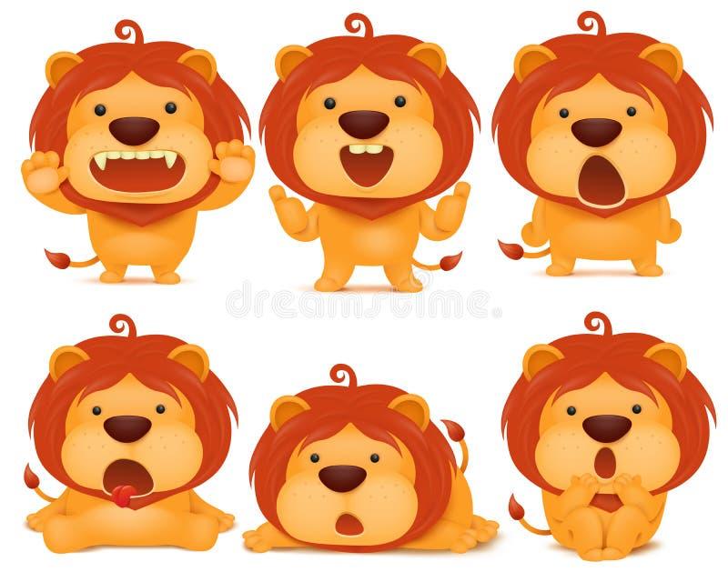 Set of emoji lion cat cartoon character. Illustration royalty free illustration