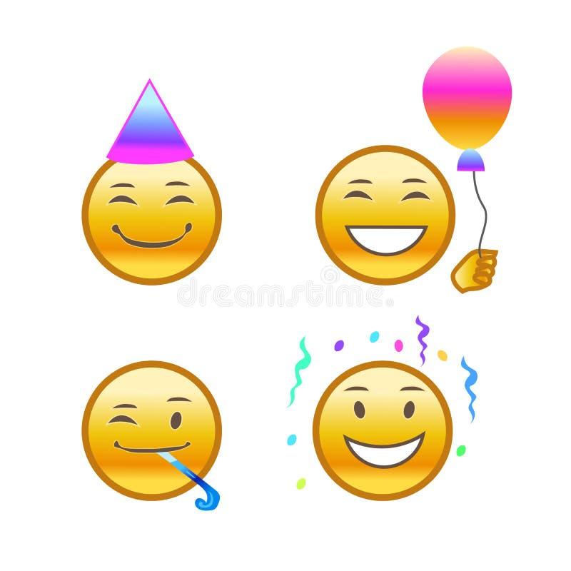 Set emojis, wakacyjni emoticons, świętowanie royalty ilustracja