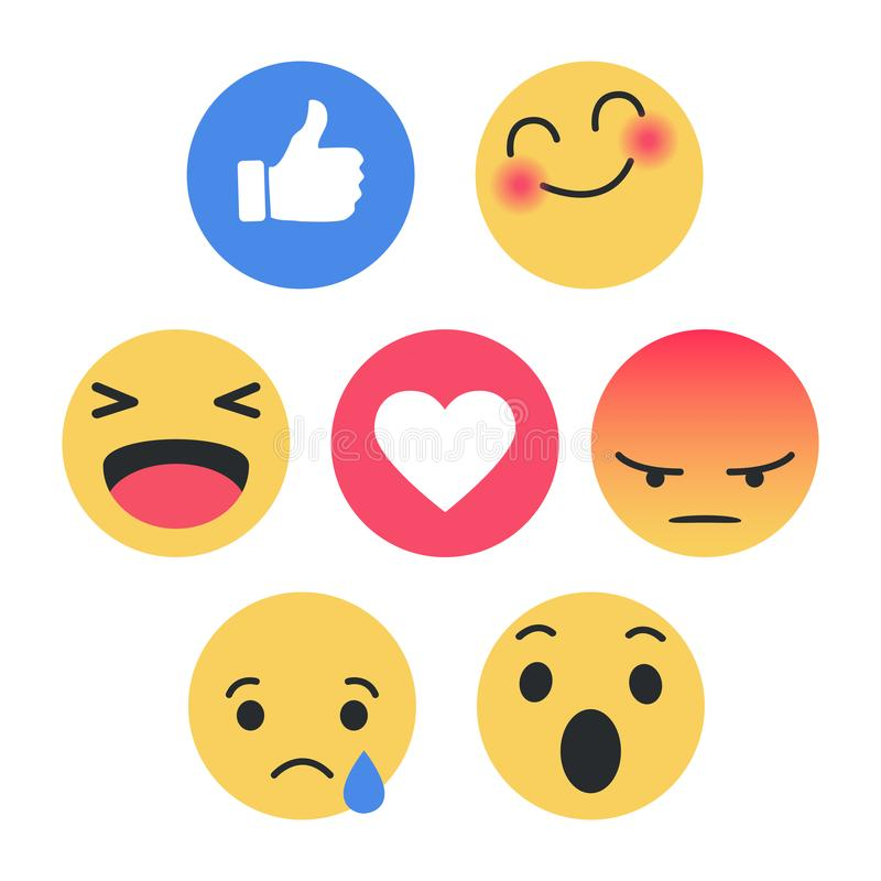 Set of Emoticon with Flat Design Style, social media reactions. Smile sad fun happy like love icon royalty free illustration
