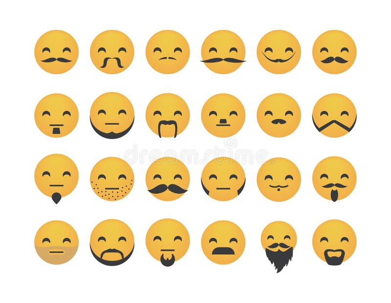 Set of emoticon with mustache vector illustration