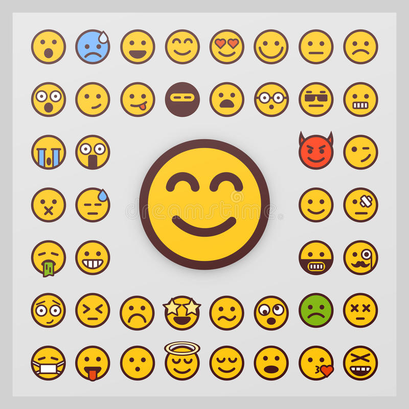 Set of emoticon vector on white background. Emoji vector. Smile icon collection. stock illustration