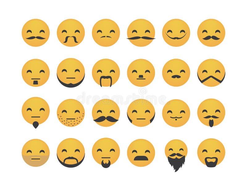 Set emoticon z wąsy ilustracja wektor