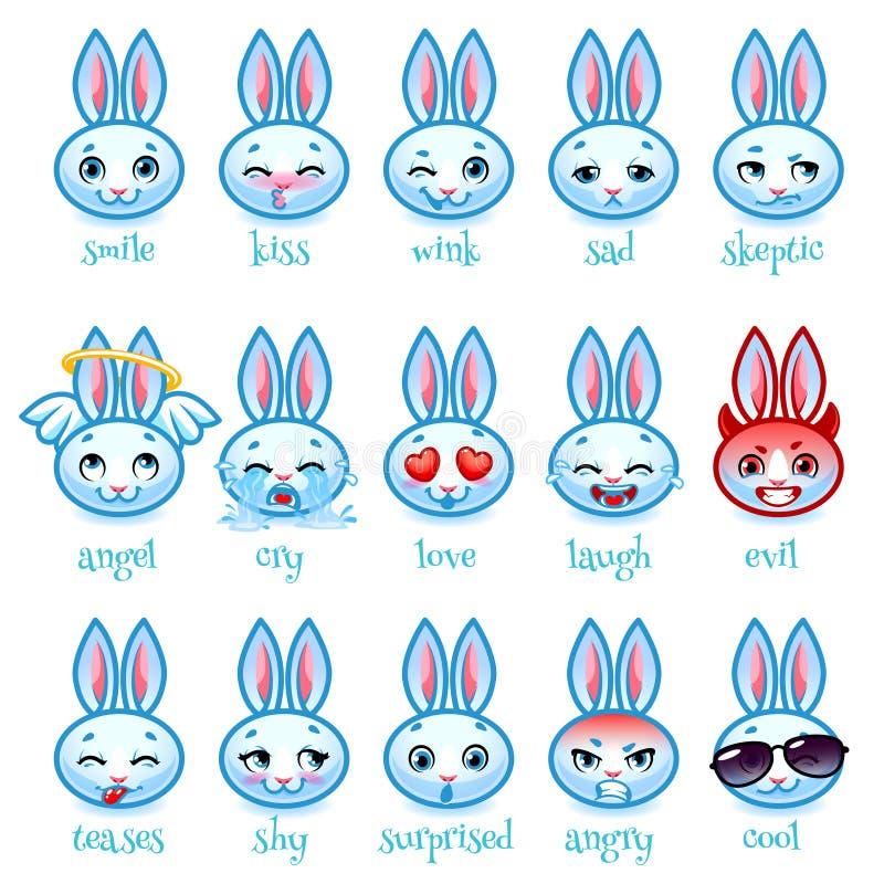 Set emoticons śmieszny królik royalty ilustracja