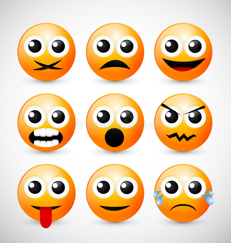 Download Set of Emoticons stock illustration. Image of human, comic - 25200017