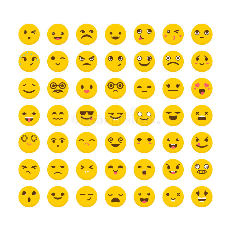 Set of emoticons. Cute emoji icons. Avatars. Big collection with. Different expressions. Flat design. Vector illustration stock illustration