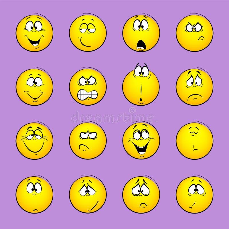 Set emoticons, emocja, uczucia, doświadczenie dla ikon royalty ilustracja