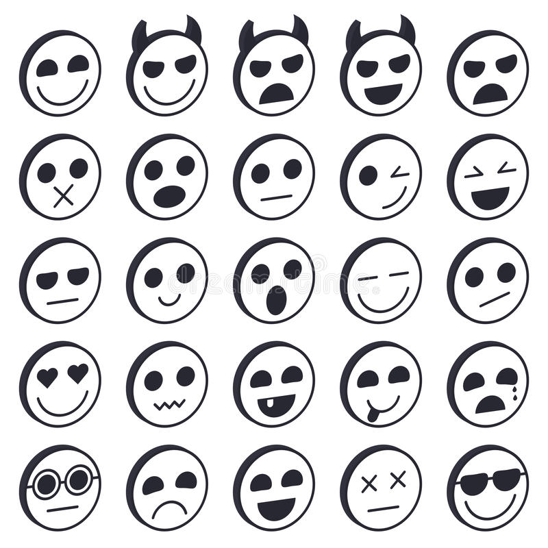 Set Of Emoticons Emoji Icons Collection Smile Funny Faces Stock