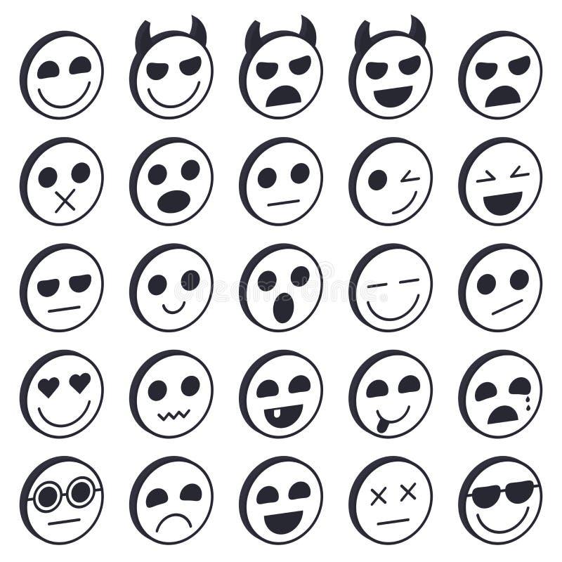 Set Emoticons Emoji-Ikonensammlung Lustige Gesichter des Lächelns lizenzfreie abbildung