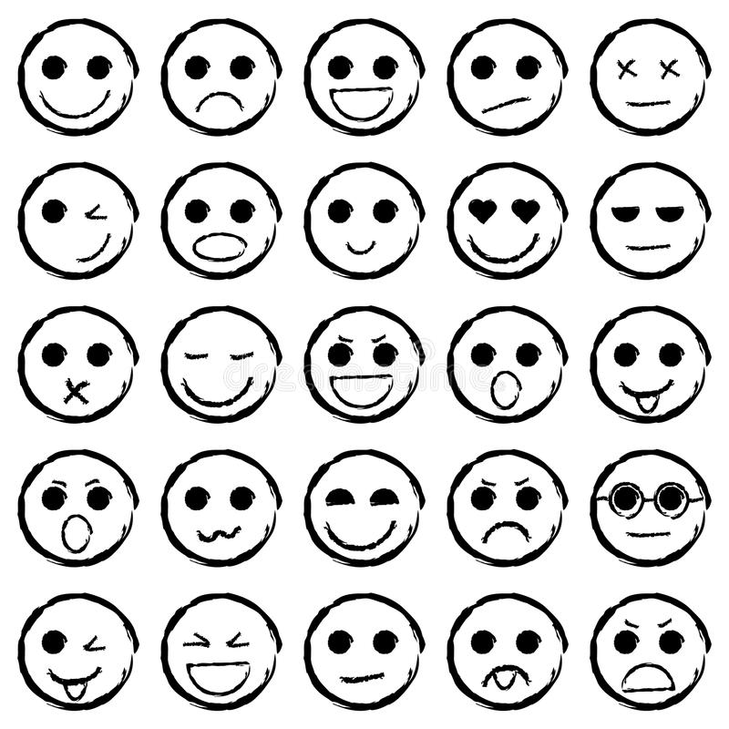 Set of Emoticons hand drawn. Collection emoji icons. Vector illustration vector illustration