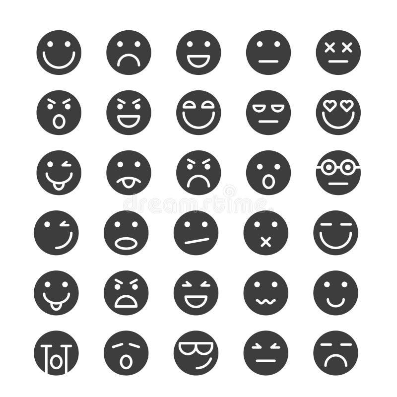 Set of Emoticons icons glyph, Emoji and Avatar 皇族释放例证