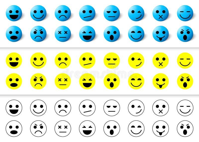Set emoticons ikony, uśmiech kolekcja royalty ilustracja