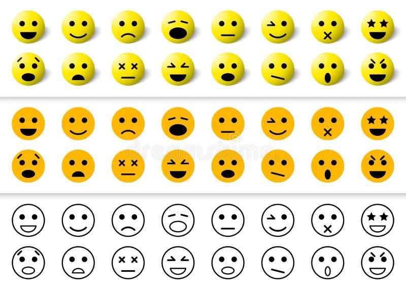 Set emoticons ikony, uśmiech kolekcja ilustracja wektor