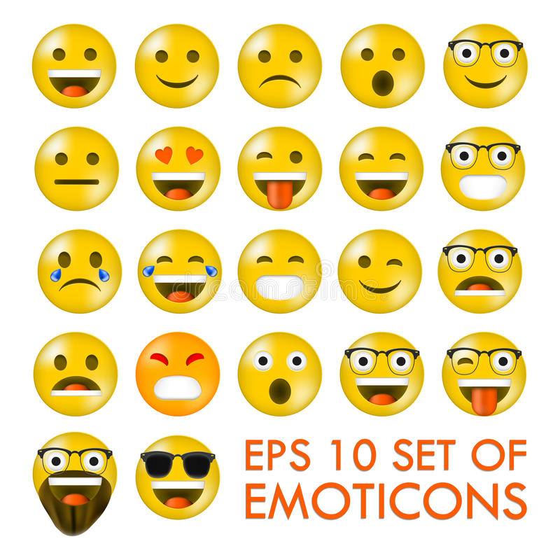 Set Emoticons lub Emoji ilustracja wektor