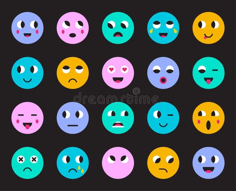 Set Emoticons lub Emoji również zwrócić corel ilustracji wektora ilustracji