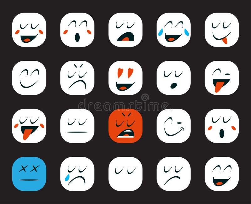 Set Emoticons lub Emoji również zwrócić corel ilustracji wektora ilustracja wektor