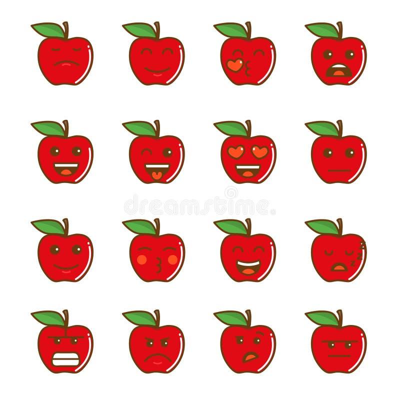 Set Emoticons Satz von Emoji Lächelnapfelikonen Getrennte Abbildung auf weißem Hintergrund lizenzfreie stockfotos
