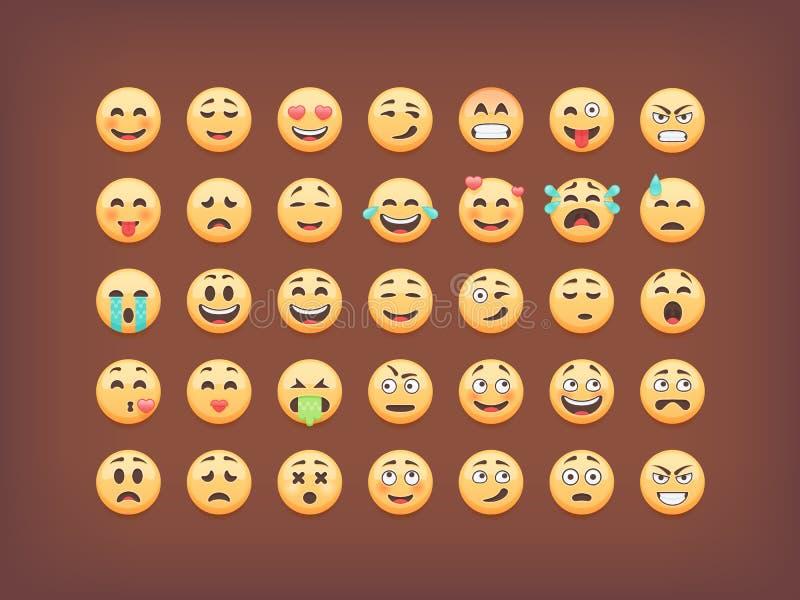 Set emoticons, smileys ikony paczka, emoji na brown tle, wektorowa ilustracja ilustracja wektor