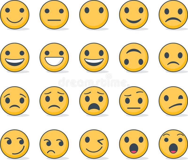 Set emoticons z różnymi emocjami royalty ilustracja