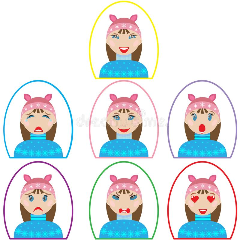 Set of emotion icons. girl in winter clothes in oval frame in flat style. Isolated on a white background stock illustration