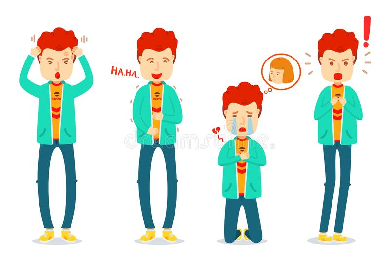 Set of emotion of one man, Sad, Happy, Stress, Shock, Laughing, Crying, Shocking, Straining, Alarm, heartbroken, Young man royalty free illustration