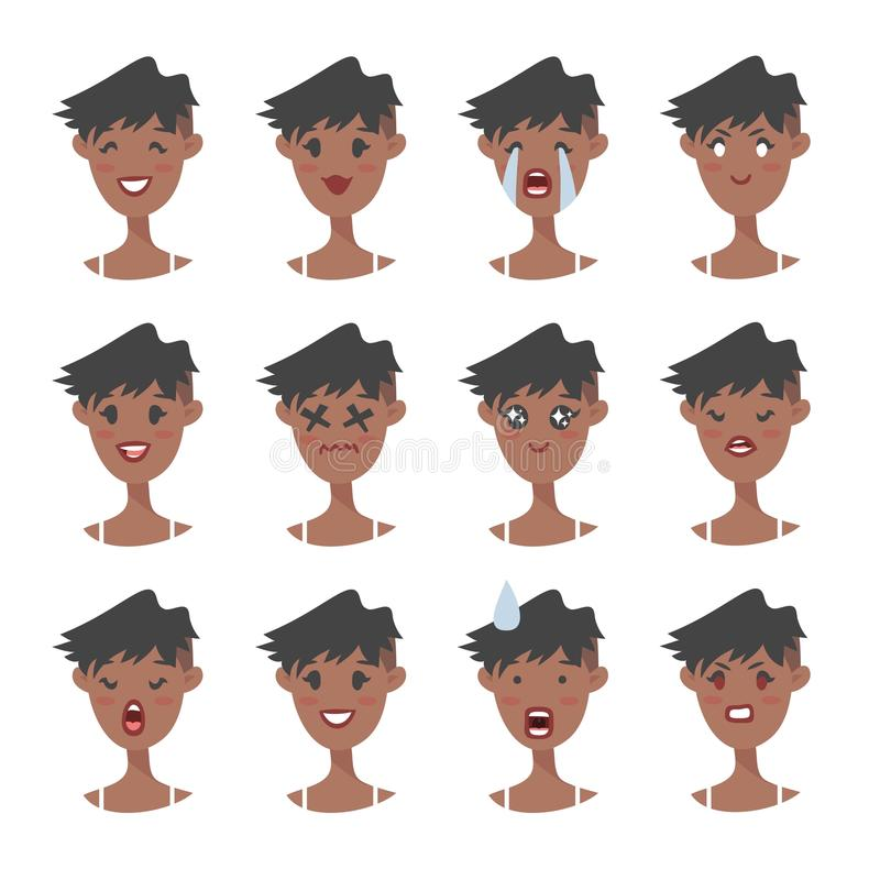 Set of emotional character. Cartoon style emoji. Isolated black girl avatars with different facial expressions. Flat illustration. Set of emotional character royalty free illustration