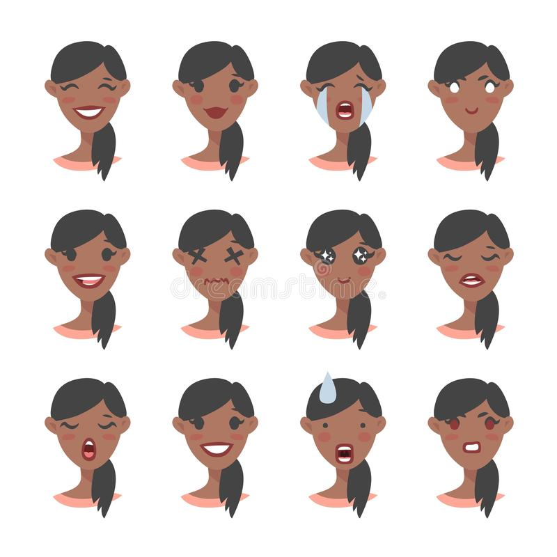 Set of emotional character. Cartoon style emoji. Isolated black girl avatars with different facial expressions. Flat illustration. Set of emotional character vector illustration