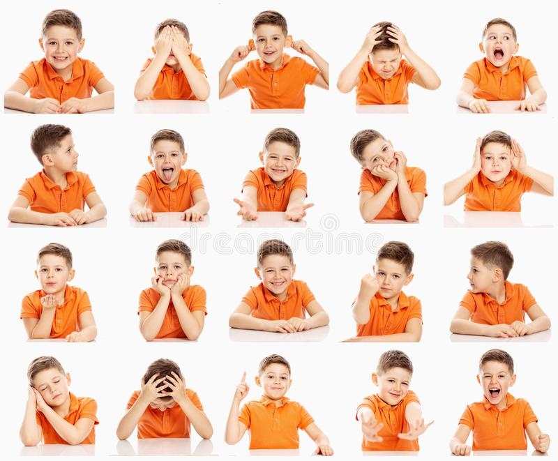 Set of emotional images of a boy in an orange T-shirt, collage, close-up, white background royalty free stock photo