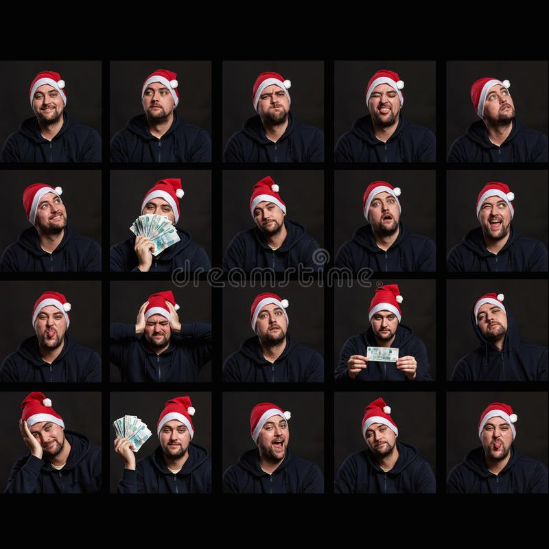 Set of emotional photos of a young man in a Santa Claus hat. Festive mood. Black background. royalty free stock photography