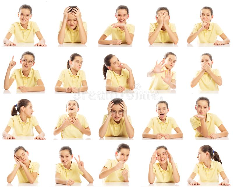 Set of emotional pictures of a teenager girl in a yellow T-shirt, collage. Close-up, white background stock photos