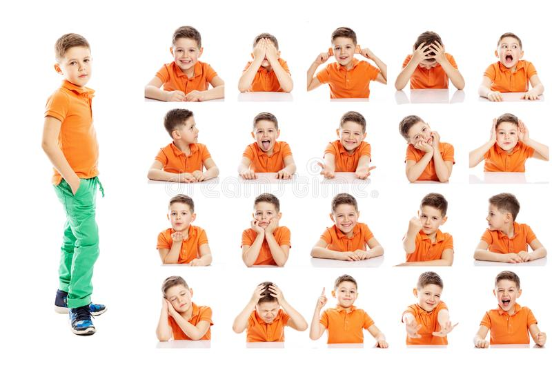 Set of emotional portraits of a cute school-age boy in bright clothes. Collage from different grimaces. Isolated white background stock photo