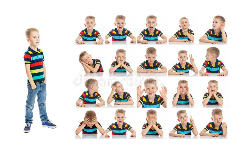 Set of emotional portraits of a cute school-age boy in bright clothes. Collage from different grimaces. Isolated white background royalty free stock photo