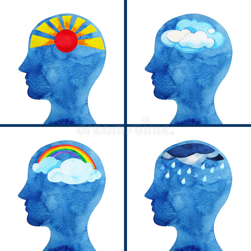 Set of emotional weather in human head abstract thought watercolor painting stock illustration