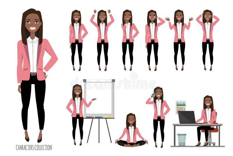 Set of emotions for black african american business woman. stock illustration