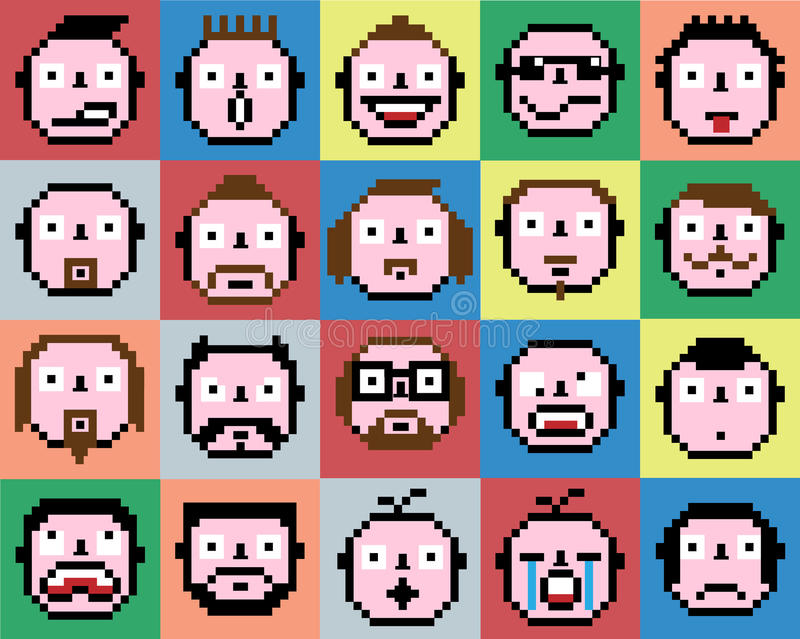 Set of emotions emoji face icons pixel retro vintage. For web vector illustration