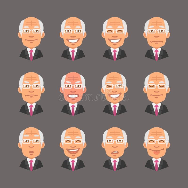 Set Emotions Old Businessman. Vector Illustration, Set Emotions Old Businessman, Format EPS 10 royalty free illustration